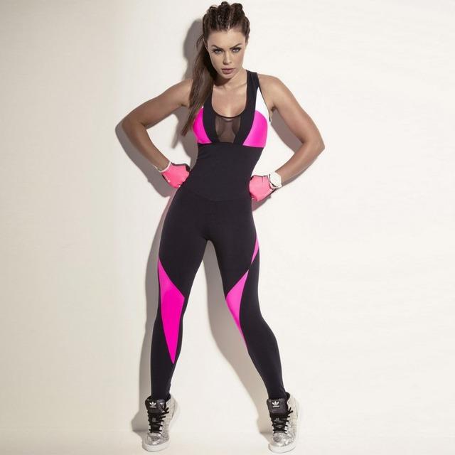 S-QVSIA Malha Bodysuit Mulheres de Fitness Yuga Estiramento Sexy Macacões Sem Encosto Doce Rosa Preto Patchwork Geral Escavar Playsuits