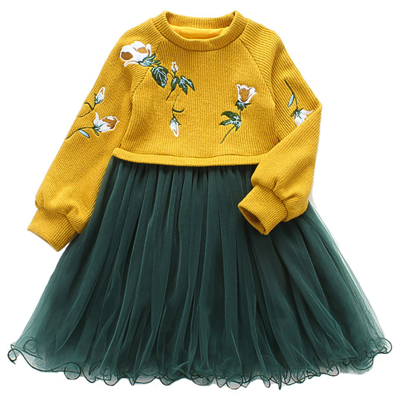 цена на Winter Girls Dresses 2017 New Cotton Costumes Baby Floral Vestidos Children Long Sleeve Clothes Kids Princess Dress For Girls
