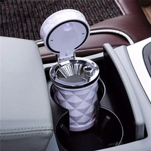 ONEWELL Black White Car Ashtray LED Light Cigarette Lighter With Light Car Cup Car Accessories