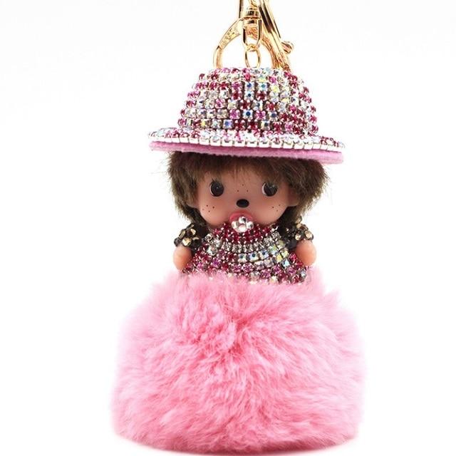 Monchichi Keychain Sleutelhanger Rabbit Fur Ball Crystal Hat Monchhichi Dolls Pompom Key Chain Lady Bag Car Charm Christmas Gift