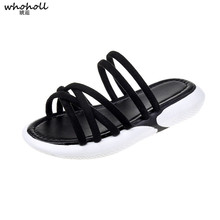 WHOHOLL  Women Slippers Ankle Strap Flat Sandals Summer Shoes Open Toe Chunky Beach Dress