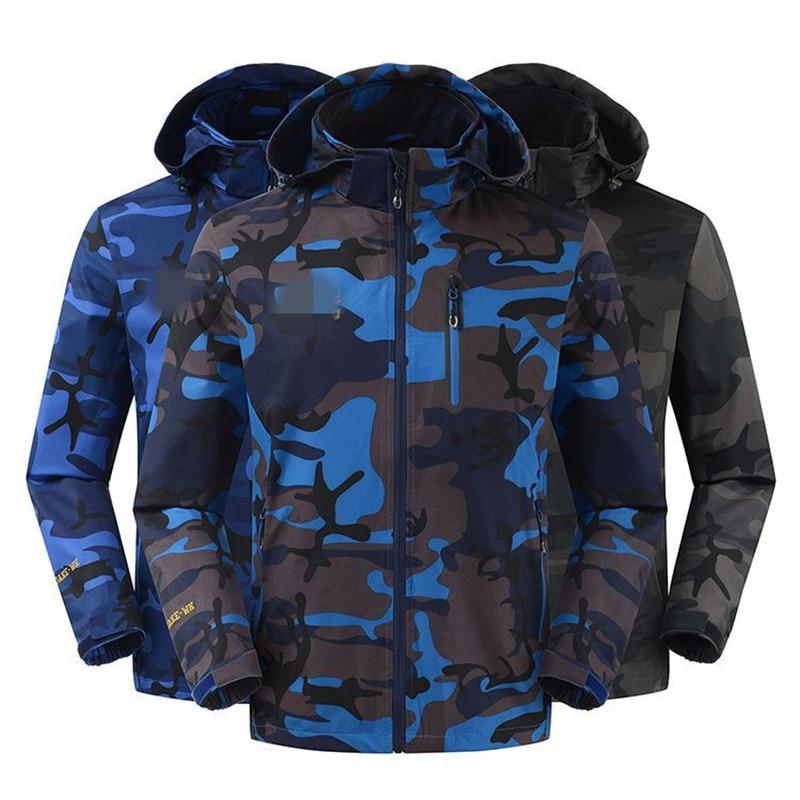 free shipping 2019 Spring Autumn Hiking Jacket Men Hooded Windbreaker Coat Men Black Soft Shell Jackets Plus Size l-4xl
