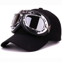 Fancy cotton 6 panels ski goggles baseball cap with polite glasses sports caps decoration novelty halley hat for men and women