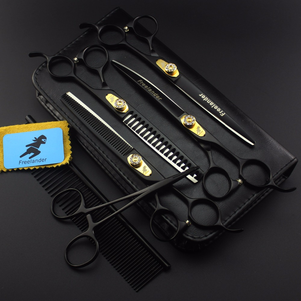 High Quality 7 0 Inch Professional Pet scissors for dog grooming Straight Curved Thinning 6pcs Set