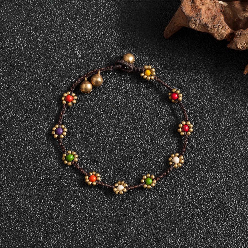 AMOURJOUX ручной работы простой красочный цветок Шарм ноги женские браслеты для щиколотки бисером браслет-цепочка на лодыжку украшения для щиколотки