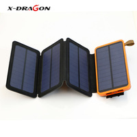 X Dragon Portable 4 Solar Panel 10000mAh Power Banks Charged By Solar And Micro USB Cable