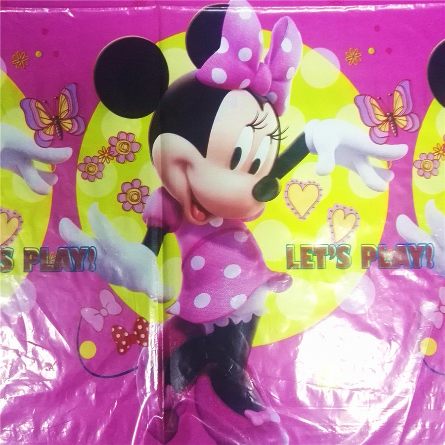 108cm 180cm Minnie Mouse Party Supplies Tablecloth Decorations Table Cloth minnie supplies Birthday Party Decorations 3 in Disposable Party Tableware from Home Garden