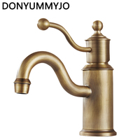 DONYUMMYJO Newest Vintage Deck Wholesale And Retail Deck Mounted Vintage Antique Brass Bathroom Sink Basin Faucet
