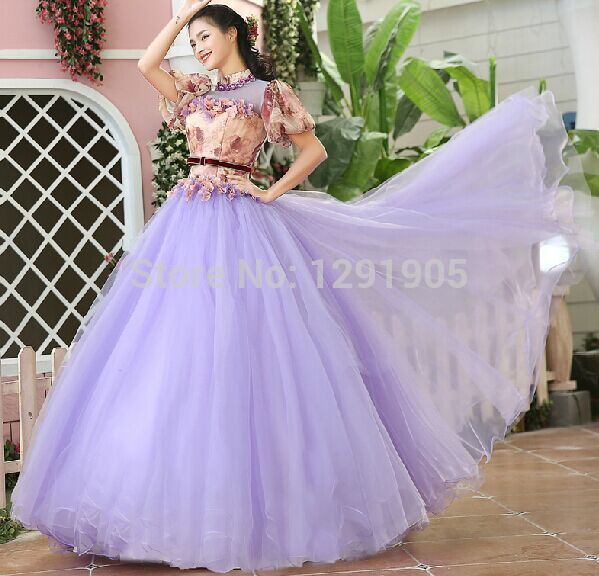 100%real lilac bubble sleeve floral bowknot belle ball princess ...