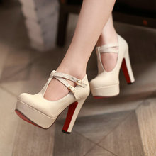 เซ็กซี่แฟชั่นสตรีปั๊มแพลตฟอร์มS Trappyหัวเข็มขัดสูงส้นรองเท้าขนาดใหญ่รองเท้าสีดำสีเบจสีเหลืองสีชมพูสีขาว