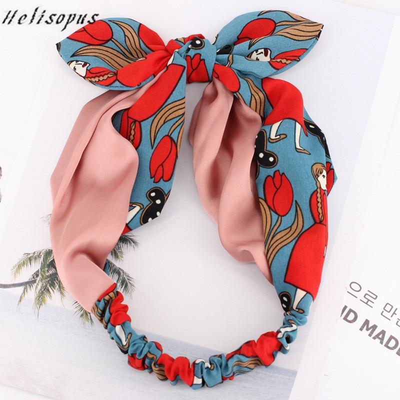 Helisopus Sweet Flower Printed   Headwear   for Women Cute Bow Headbands Ladies Summer Fashion Hair Turban   Headwears
