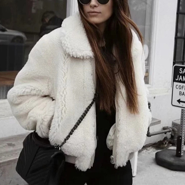 new fashion winter white faux fur teddy bear coat jacket