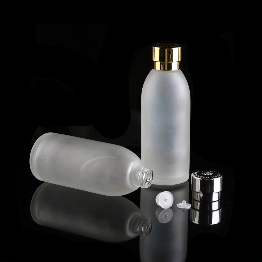 120ml 4floz Frosted Clear Glass Lotion Cosmetic Toner Serum Bottle Gold silver Flower Lid 50pcs lot