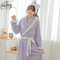 OUIRRY Robes For Women Satin Dressing Gown Women S Solid Color Full Sleeve Terry Cotton Sleep