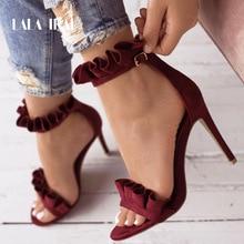 LALA IKAI Buckle Strap High Heels Sandals Women Ruffle Sandals Summer Solid Fashion Thin Heels Chaussure Femme Talon 014C1023-5