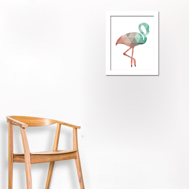 picture relating to Flamingo Printable identified as US $3.47 44% OFFGeometric Coral mint tone Flamingo Printable artwork,progressive canvas wall Poster for Household Decoration, Body not include things like -within Portray