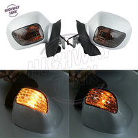 White Motorcycle Mirror LED turn Light Motor Rear view Mirrors Amber Signal case for Honda Goldwing GL 1800 2001 2002 2003 2011