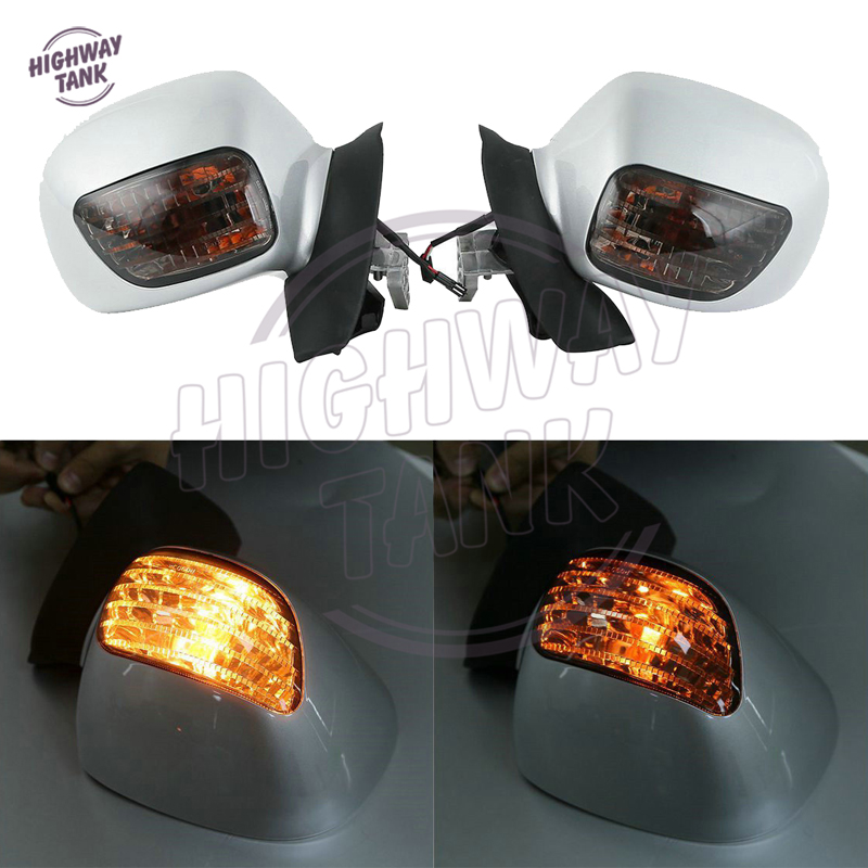 White Motorcycle Mirror LED turn Light Motor Rear view Mirrors Amber Signal case for Honda Goldwing GL 1800 2001 2002 2003-2011