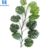 NuoNuoWell 100x 40'' Artificial Turtle Leaves Fake Plant Green Rattan Foliage Decoration Monstera Garland Real Touch