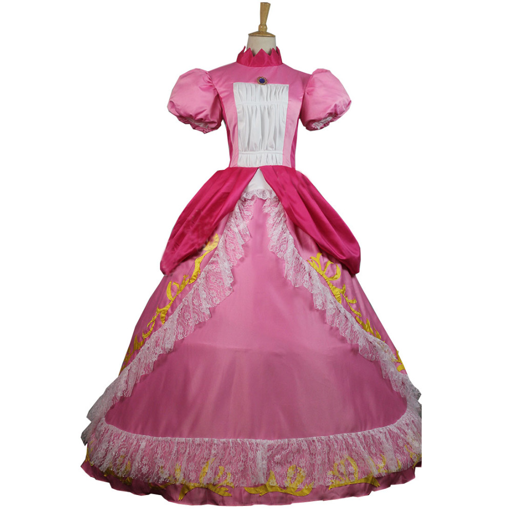 Super Mario Princess Peach Adult Costume Bros and Luigi Cosplay Pink Dress Gown