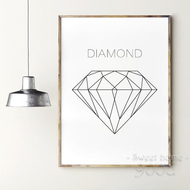 geometrische diamant leinwand kunstdruck malerei poster. Black Bedroom Furniture Sets. Home Design Ideas