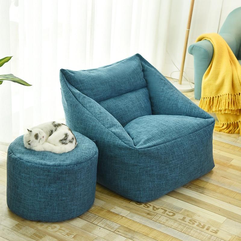 Paresseux canapé pouf simple tissu minimalisme salon canapé tatami chambre portable détachable sac d'haricot chaise totoro lit|Fauteuils haricot| |  -