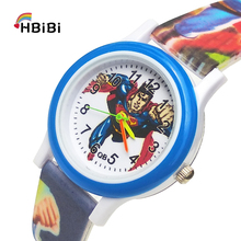 цена на Printed strap Super hero Children's Watch waterproof Kids Watches Student Clocks Child Quartz Watches for Baby Girls Boys Gift