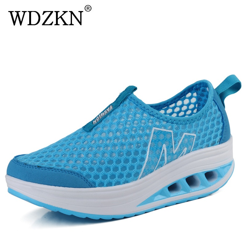 WDZKN New Arrival Summer Women Flat Platform Shoes Breathable Air Mesh Casual Platform Shoes Woman Summer Slip On Sneakers Shoes