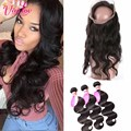 Pre Plucked Brazilian Hair Weave Bundles With 360 Lace Frontal Brazilian Body Virgin Hair With 360 Full Frontal Band Closure