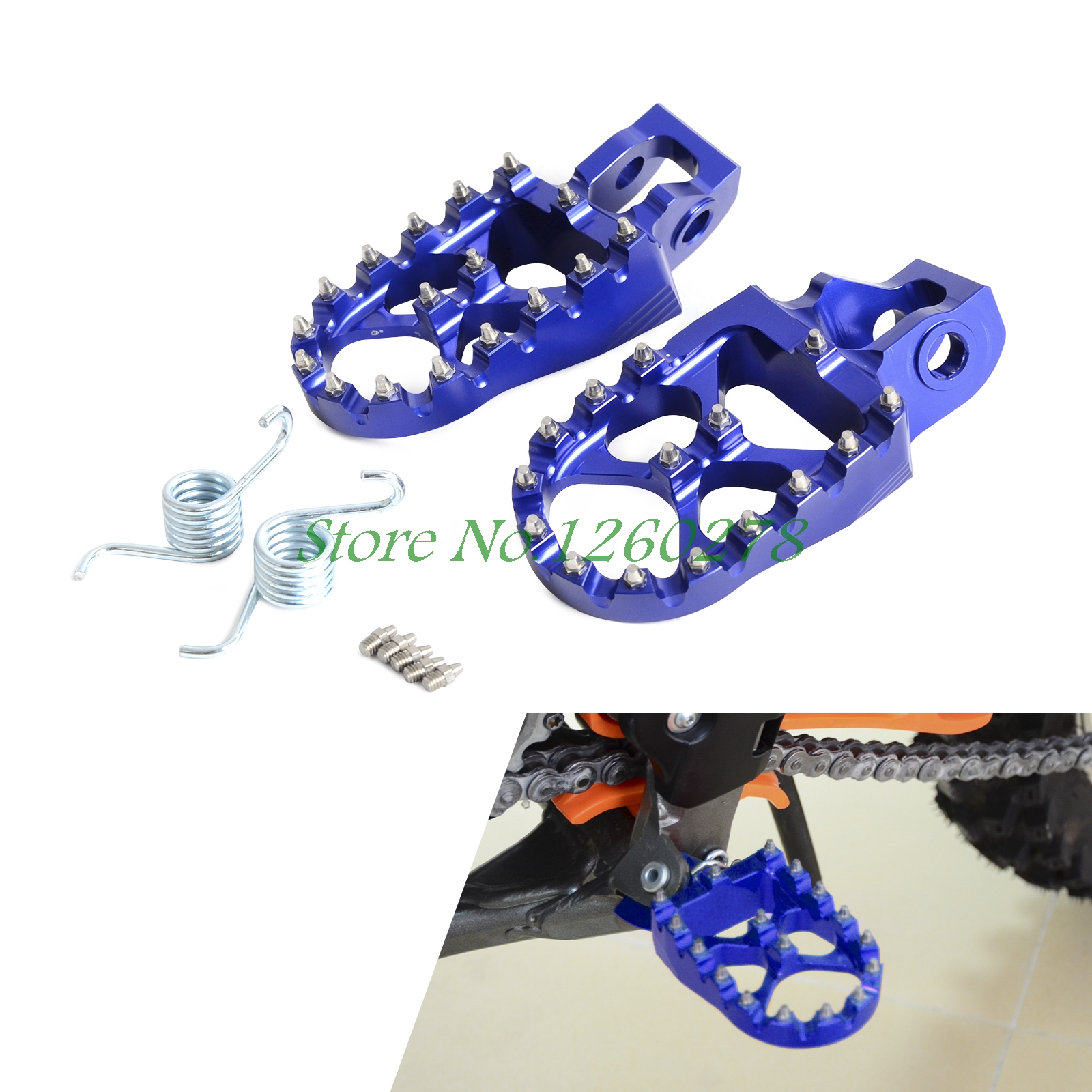 Motorcycle 57mm Billet Wide Foot Pegs Footrests For Husqvarna TC TE FC FE FS TX FX