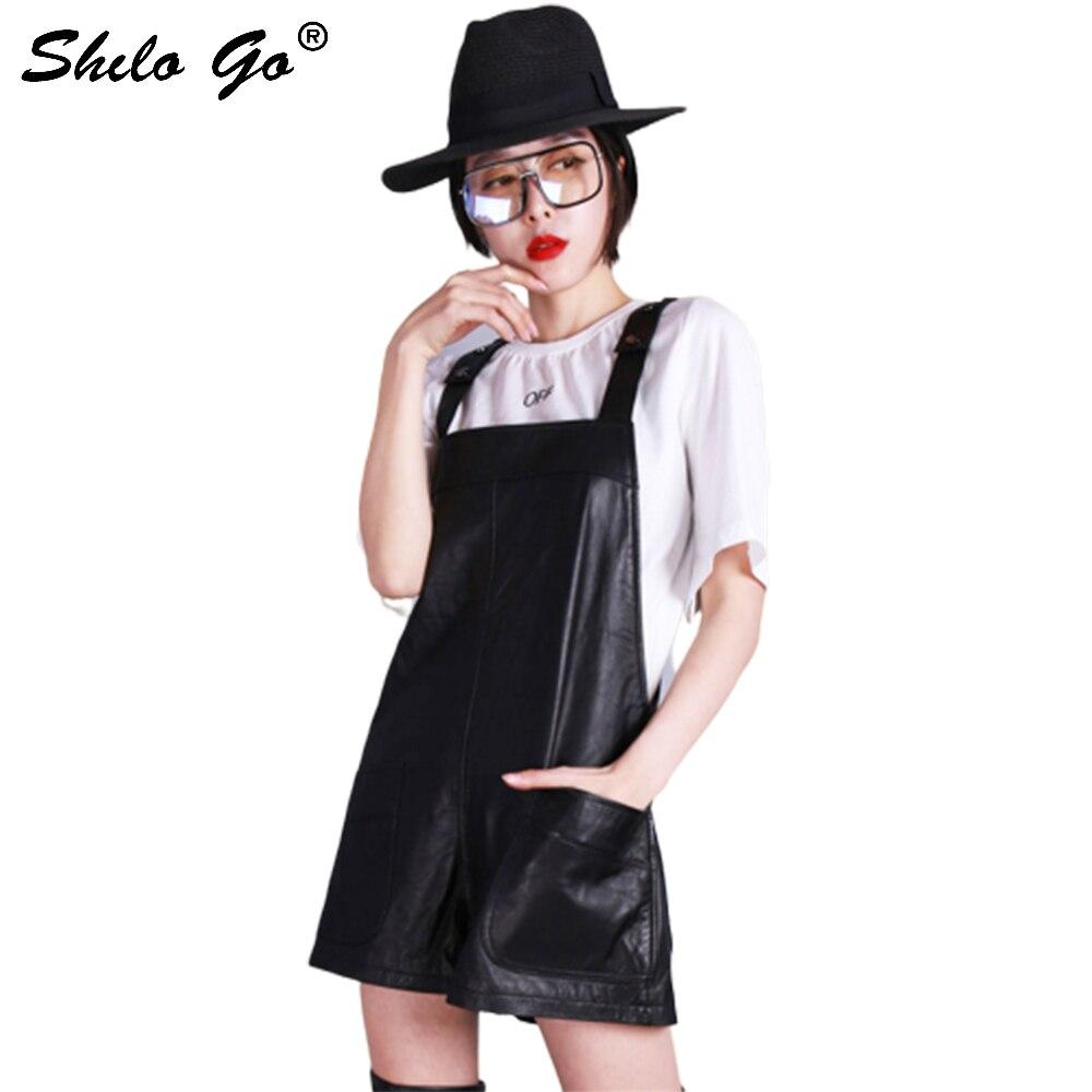 Salopette femmes printemps mode en peau de mouton en cuir véritable salopette spaghetti sangle décontracté lâche large jambe pantalon court