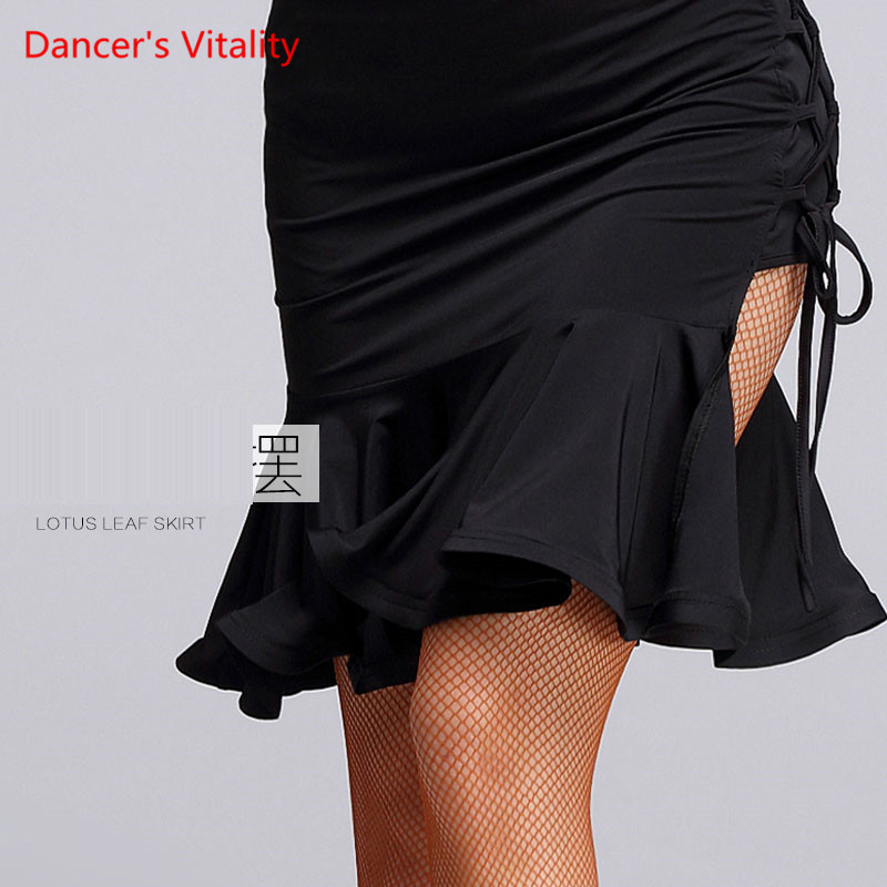 2017 New Sex Women Lady Latin Skirt Black Strapt Salsa -1946