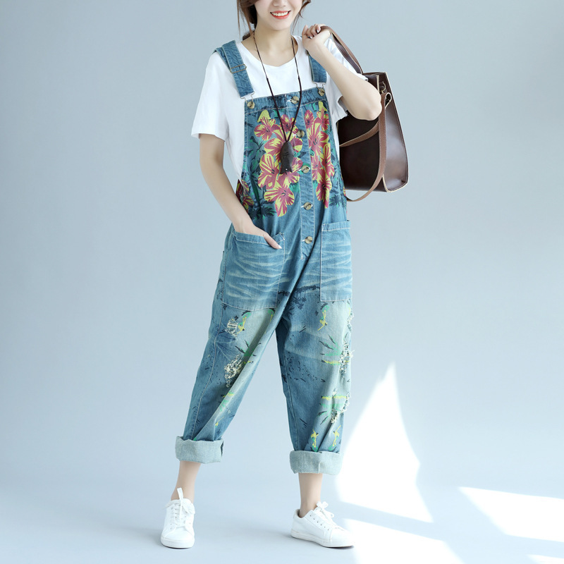 The New Women 2018 Loose Plus Size Jean Jumpsuits Big Pockets Overalls Wide Leg Long Pan ...