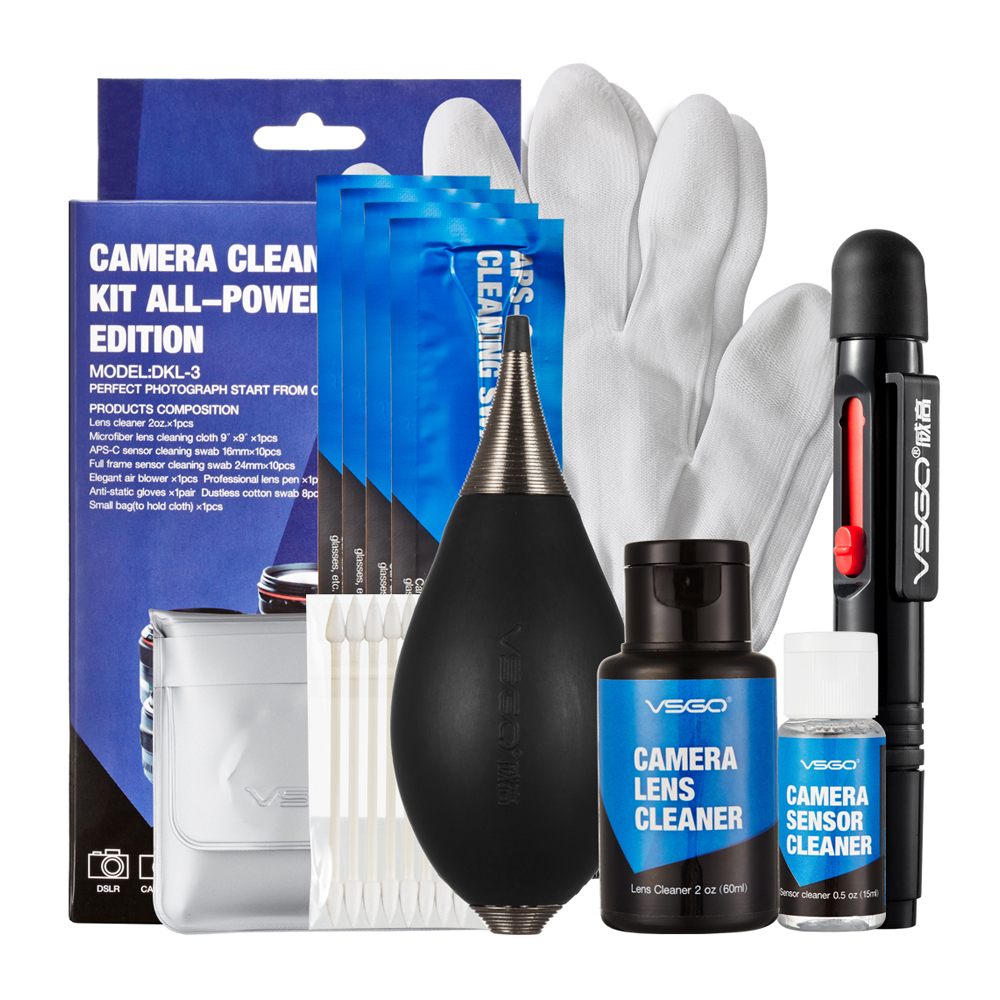 VSGO Professional Camera Cleaning Kit With Lens Cleaning Pen APS-C Full Frame Sensor Swab Air Blower Cleanser Glove and Cloth. highpro hi r 2 in 1 hippocampus lens pen air blower black red