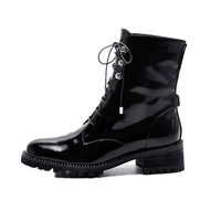 Fashion Black Patent Leather Lace Up Women Ankle Boots Classical Crystal Around Square Heels Woman Winter