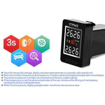 U912 Car TPMS Wireless Auto Tire Pressure Monitoring System With 4 External Sensors LCD Embedded Monitor For Toyota