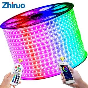 Image 5 - شريط مصابيح LED 110 فولت SMD5050 60led/م تغيير لون التحكم عن بعد نوع RGB ضوء النيون حزام AC110V خط الإضاءة ديكور المنزل مقاوم للماء