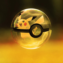 New Pikachu 3D Crystal Ball Pokemon Go Light Glass Ball Engraving Round With Black Line Ball LED Colorful Base Child's Gift