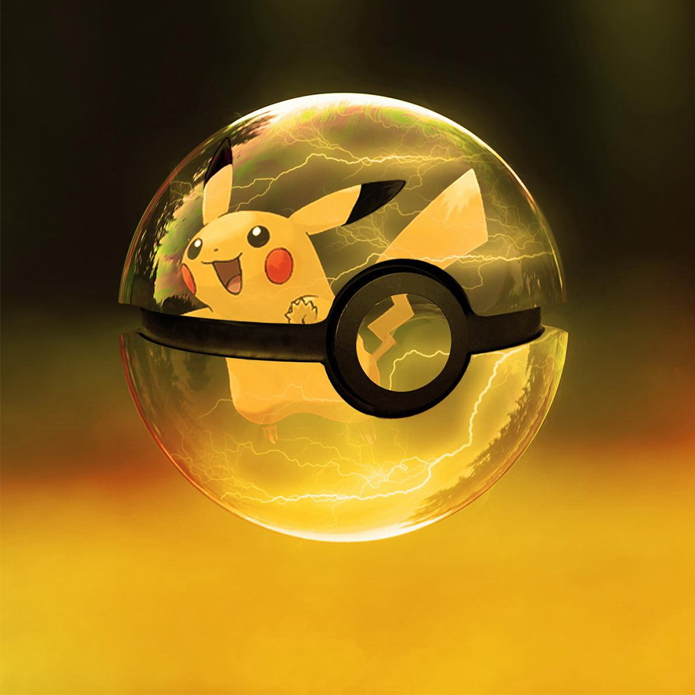 New Pikachu 3D Crystal Ball Pokemon Go Light Glass Ball Engraving Round With Black Line Ball LED Colorful Base Childs Gift