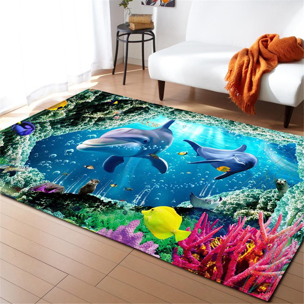 3D Ocean World Shark Area Rug Children Theme Room Decoration Rugs Memory Foam Non-Slip Mats Soft Flannel Carpet Living Room