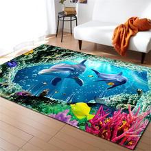 3D海世界のサメラグマット子供テーマルーム装飾敷物低反発非スリップマットソフトフランネルカーペットリビングルーム