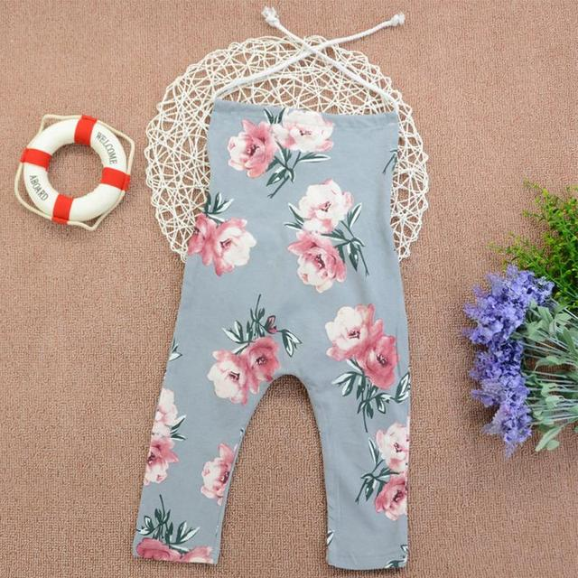 91cc463b0d5 Newborn Baby Toddler Girl Drawstring Floral Romper Suspender Trousers Kid  Summer Outfit Casual Jumpsuit