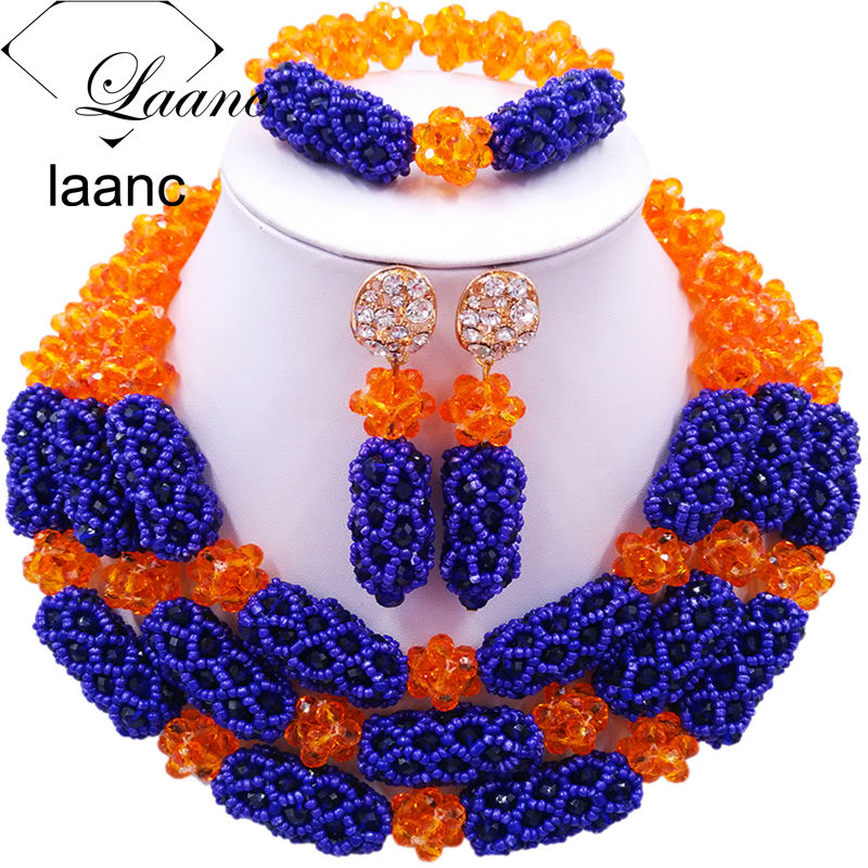 Laanc African Style Nigerian Beads Dubai Crystal Orange and Royal Blue Jewelry Set Women Necklace and Earrings Bracelet AL571 women s fashionable peafowl style crystal inlaid necklace earrings jewel set blue silver