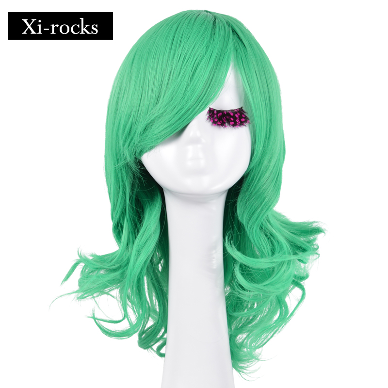 3069 Xi.rocks 18inch Short Light Green Wigs Curly With Bangs For Women Cosplay Wig Halloween Party Synthetic Fiber Hair