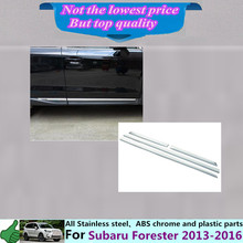 Su6aru Forester 2013 2014 2015 2016 car auto styling cover detector ABS chrome Side Door Body trim stick Strips Molding 4pcs