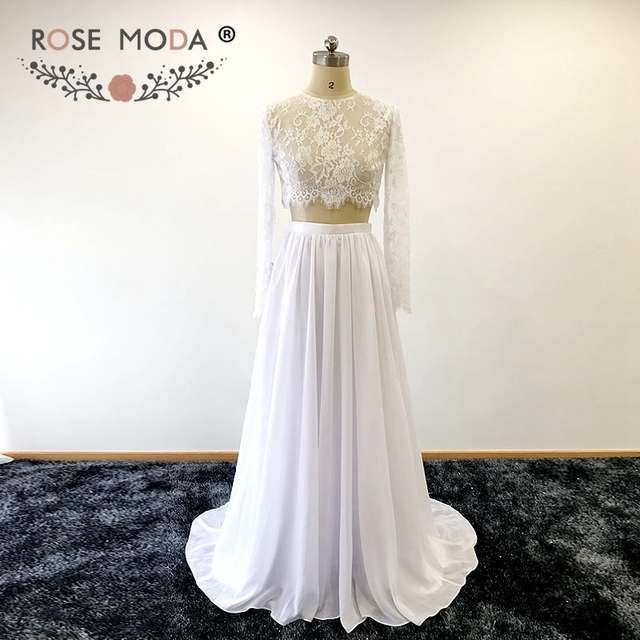 Rose Moda Long Sleeves Crop Lace Top Two Piece Wedding Dress Chic 2 ...