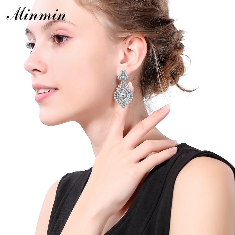 Minmin Pernyataan Besar Teardrop Kristal Panjang Drop Earrings untuk - Perhiasan fashion - Foto 2