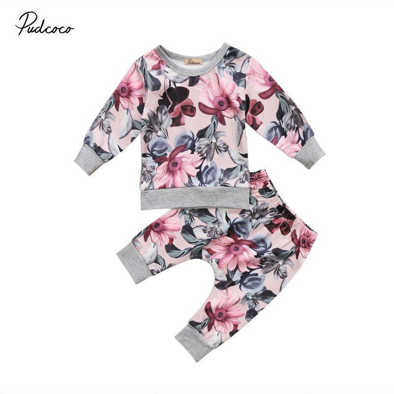 Pudcoco Kids Baby Autumn Long Sleeve Outfits Clothes Baby Boys Girls Flower Print Tops+Floral ...