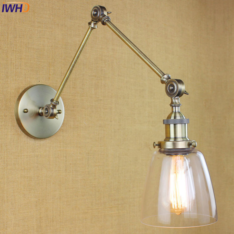 Glass Brass Loft LED Wall Lamp Vintage Adjustable Swing Long Arm Wall Light Fixtures Retro Sconce Appliques Pared LED glass wooden arm retro vintage wall lamp led edison style loft industrial wall light sconce home lighting appliques pared