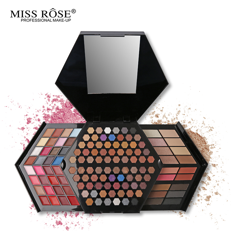 Miss Rose Professional Makeup Kit Full Color Matte & Shimmer Eyeshadow Palette Highlighter Face Powder Concealer Blusher miss rose top quality piano shape pro eyeshadow pallete fashion women cosmetic case full pro makeup palette concealer blusher